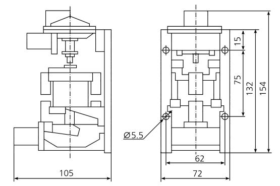 Габаритные и установочные размеры реле РВП-72-3222